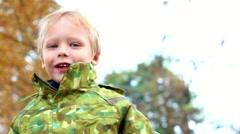 portrait of cute 4-years old little boy. beautiful child. happy kid happy people - stock footage