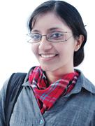 Closeup / portrait of a young indian / asian female / girl college student, o Stock Photos