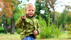Cute 4 year old little boy counts chestnuts in park. beautiful child Stock Footage