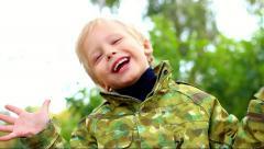 Portrait of cute little boy. beautiful child. happy kid. happy people Stock Footage