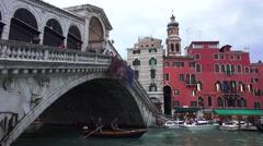 Venice Italy Grand Canal Rialto Bridge gondola 4K 028 Stock Footage