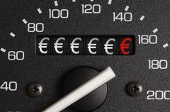 Car distance counter showing euro symbols Kuvituskuvat