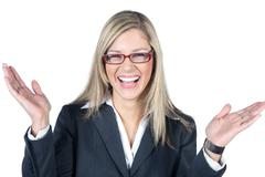 enthusiastic busines woman - stock photo
