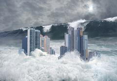 Apocalyptic scene of city submerged by tsunami Stock Photos
