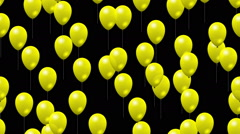 Party yellow balloons generated seamless loop video with alpha matte Stock Footage