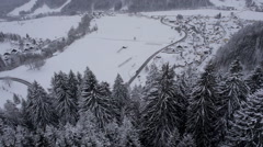 Aerial - Snow covered trees on a steep terrain. Small village beneath the hill Stock Footage