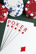 Hand of cards spelling 'poker' Stock Photos