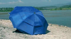 Blue sunshade Stock Footage