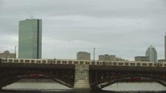Train Travels Over Bridge Boston Stock Footage