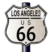 los angeles route 66 sign - stock illustration