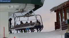 Landing with ski lift Stock Footage