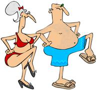 Stock Illustration of Grandparents exercising