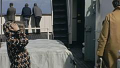English Channel 1968: people in a ship on their way to France Stock Footage
