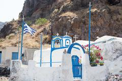 agios nikolaos church in therasia, santorini, greece - stock photo