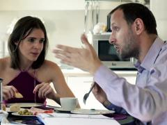 Young couple arguing during breakfast by the table at home NTSC Stock Footage