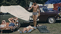 Italy 1968: jokes at the camping - stock footage