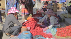 Colorful market chilli stall in Vietnam Stock Footage