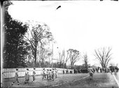 Goal line action at Miami-Wittenberg football game 1910 Stock Photos