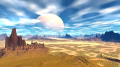 3d rendered fantasy alien planet. rocks and  moon - stock footage