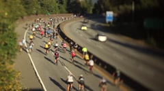 Vancouver to Whistler bicycle road bike race on Sea to Sky Highway. Stock Footage