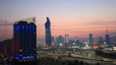 Stock Video Footage of Kuwait City at dusk
