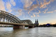 sunset at cologne city, germany - stock photo