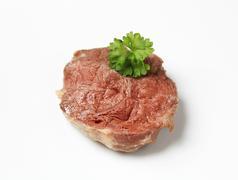slice of cooked shin beef meat - studio - stock photo