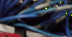 Pan of Ethernet cables in a Television station - stock footage