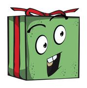 Gift  funny expression characters Stock Illustration