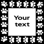 cat or dog paw prints  frame for your text background, vector - stock illustration