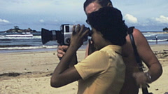 Sri Lanka 1982: young girl filming with a super 8 camera Stock Footage