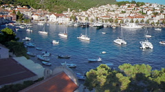 Hvar harbour from aerial drone overhead 08 - stock footage