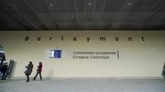 Berlaymont entrance Stock Footage
