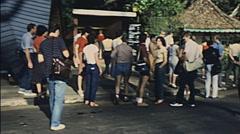 Sri Lanka 1982: visitors entering Royal Botanical Gardens Stock Footage