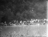 Tug-of-war in the stream at Miami University freshman-sophomore contest 1921 Stock Photos