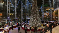Stock Video Footage of Shoppers visit the mall in VILNIUS, LITHUANIA Christmas Fair, December 23, 2014.
