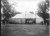 Men under the big tent at Oxford Street Fair 1912 Stock Photos