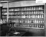 Chemicals on shelf in chemistry laboratory at Miami University 1911 Stock Photos