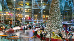 Shoppers visit the mall in VILNIUS, LITHUANIA Christmas Fair, December 23, 2014. - stock footage