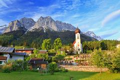 Grainau village beneath zugspitze top of germany Stock Photos