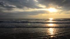 Morning and sunrise time at Hat Chao Samran beach of sea in Phetchaburi Thailand Stock Footage