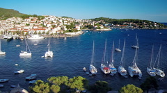 Hvar harbour from aerial drone overhead 05 - stock footage