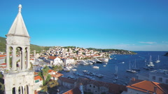 Croatia harbour from aerial drone overhead 15 - stock footage