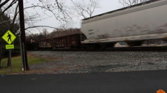 Freight train moving quickly through frame. Stock Footage