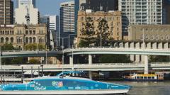 G20 CityCat passes skyscrapers 4K Stock Footage