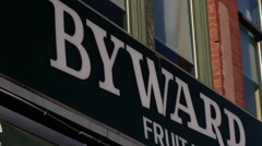 Signs in Ottawa's famous Byward Market Stock Footage