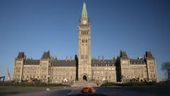 Tilt up to reveal Canada's Parliament Hill on a Cold Fall Morning Stock Footage