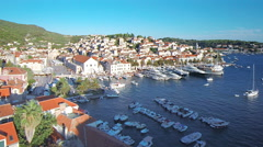 Hvar harbour from aerial drone overhead 19 - stock footage