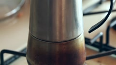 Stove top espresso coffee maker Stock Footage