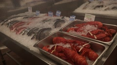 Fish on ice in local food market Stock Footage